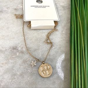 NWT! American Eagle LOVE gold tone necklace